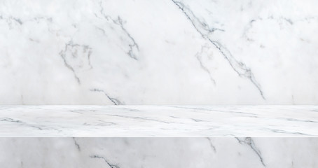 3D luxury marble table studio background textured for product display with copy space for display of content design.Banner for advertise product on website.3d rendering