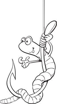 Cartoon worm on a hook, vector illustration
