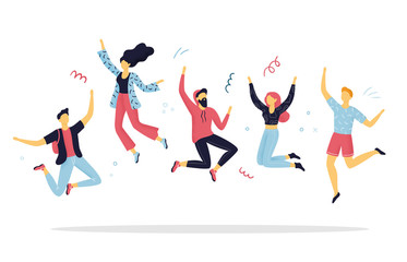 Happy people jumping for joy. Funny hand-drawn cartoon women and men on a party. Concepts of celebration or enjoying life. Vector Illustration.