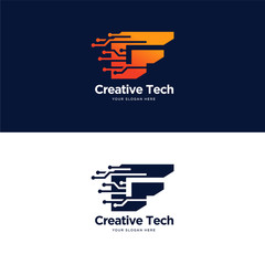 F initial tech logo designs vector with modern circuit