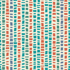 Blue, green mosaic terrazzo style vertical striped design with accent coral colour. Seamless vector pattern on cream background. Great for wellness products, fabric, packaging, stationery, home decor