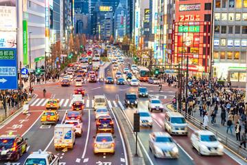 Poster Tokyo Shinjuku,Japan-04 06 2019:Crowded street of the district of Shinjuku at night