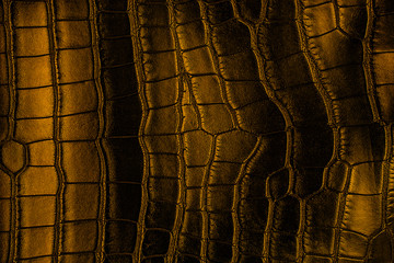 Wall Mural - Brown crocodile leather texture. Dark background.