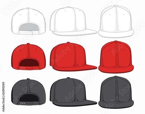 affff21d Set of caps, front, back and side view. Vector illustration.