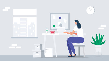 Young Business woman sitting at the desk is working on the laptop computer. Business lady or company worker. Colorful flat vector illustration for website, presentation and promotional materials.