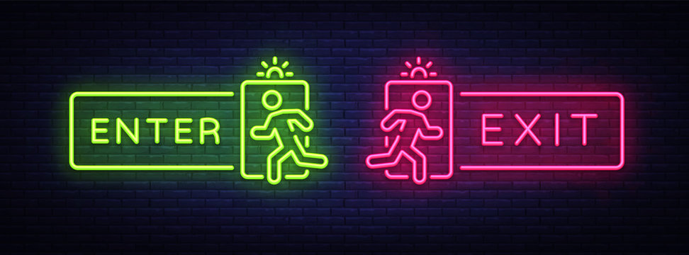 Exit Enter neon signs vector. Enter Exit Design template neon signboard, light banner, neon signboard, nightly bright advertising, light inscription. Vector illustration
