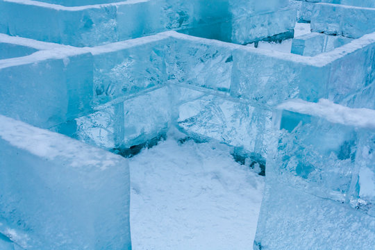 ice maze puzzle in a winter forest in Russia