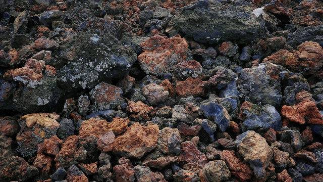 Unique mineral background of aa type lava created by the last volcanic eruption of Chinyero, nowadays part of a natural reserve of great geological significance in Tenerife, Canary Islands, Spain