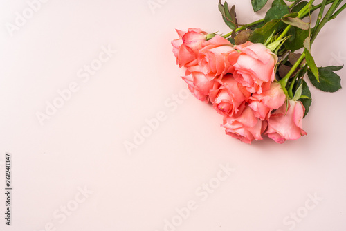 top view of rose on pink for mothers day