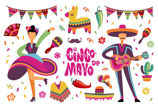 June party festival. Mexican or brazil fiesta elements with cartoon latino people. Vector set of people dancing on fiesta mexican festival illustration