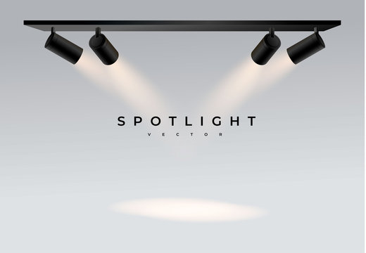 Four black moderns. Shine into place. spot. Spotlights with white light collection isolated on transparent background. Spotlight for show, bright beam from projector, vector illustration