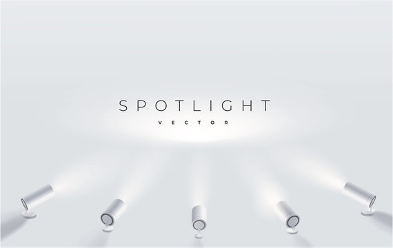 Five spotlights shine in one place. projector on the wall. Minimalistic design. Empty place. Vector illustration. Spotlights with bright white light shining stage vector set.