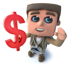 Funny cartoon 3d hiker scout character holding a US Dollar currency symbol