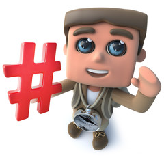 Funny cartoon 3d hiker scout character holding a hash tag hashtag symbol