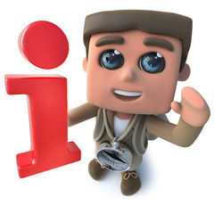 Funny cartoon 3d hiker scout character holding an information symbol