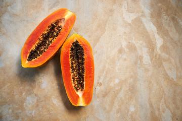 Half of Ripe Papaya and Passion Fruit with Bag