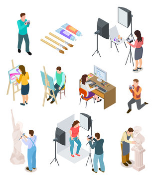 Isometric artist. Art studio artistic photo sculpture artists sculptor painting working picture creative designers 3d isolated people. Artist people, persons sculpture and painter illustration