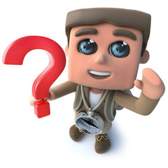 Funny cartoon 3d hiker scout character holding a question mark symbol