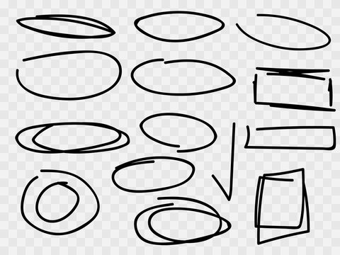 Vector text selection marker, pen black lines,  stroke of a special word or task answer. Vector grunge texture scribbles, abstract dash lines or brushstrokes dabs.