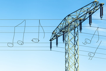 Humorous Music at Overhead Power Cable / Photo of power supply line, comic use as musical stave - painted characters as music notes, some well-behaved, few break ranks, funny scene (copy space)