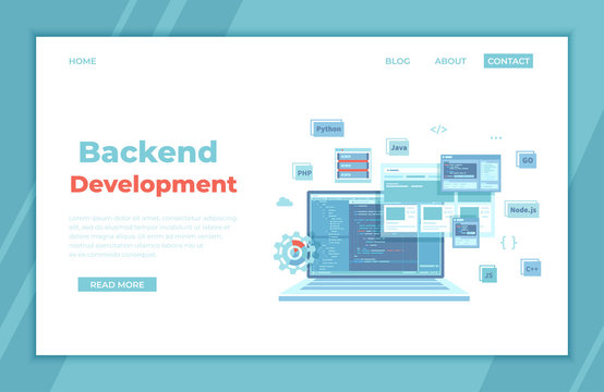 Backend Development, Coding, Software  Engineering, Programming languages. Program code on laptop screen, website template. landing page template or banner. Technology concept. Vector