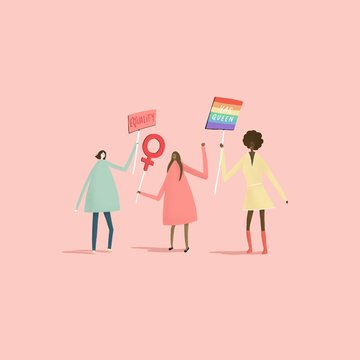 Illustration of women holding signs advocating for equal rights