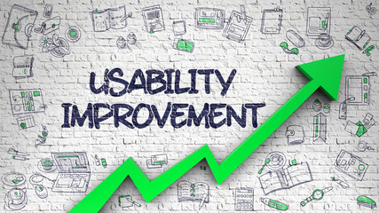 Usability Improvement Drawn on White Brick Wall. 3d.