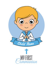 First communion card. Praying boy