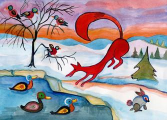 winter  landscape with wild animals
