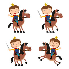 Set of funny prince in cartoon style riding a horse in different poses isolated on white background