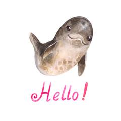 Cute cartoon watercolor dolphing says 'hello'