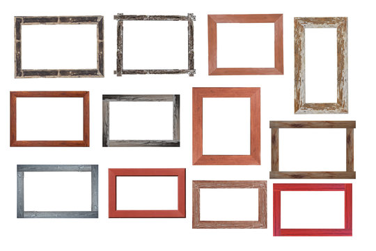 Set of Vintage wood picture frame isolated on white background. with clipping path.