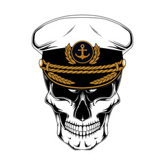 Skull captain in captains cap. Vector image on white background.