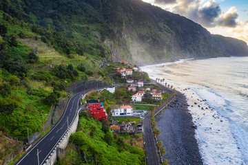 Fototapete - Beautiful mountain village on Madeira island, Portugal, at sunset. Travel background.