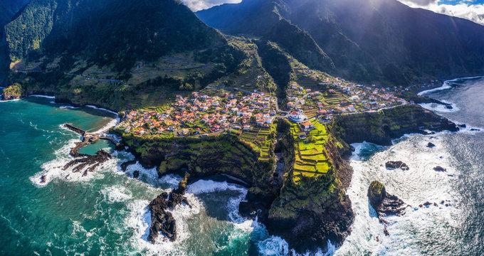 Beautiful mountain landscape of Madeira island, Portugal, on a summer day. Aerial panorama view.