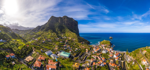 Wall Mural - Beautiful mountain landscape of Faial, Madeira island, Portugal. Aerial panorama view.
