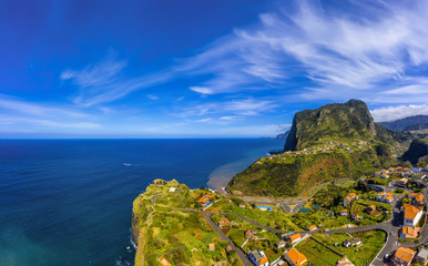 Fototapete - Beautiful mountain landscape of Faial, Madeira island, Portugal. Aerial panorama view.