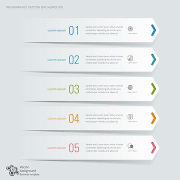 infographic, 5 Arrows, Banner Design, Vector Graphics