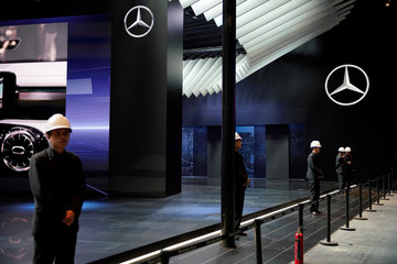 Mercedes logos are seen ahead of the Shanghai Auto Show, in Shanghai