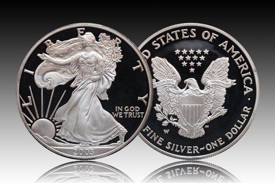 American silver eagle dollar gradient background