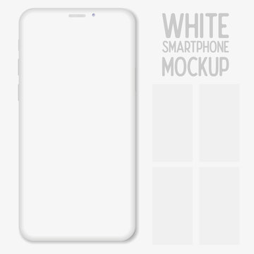 Mockup smartphone with blank screen isolated on white background. Phone Mockup to showcasing mobile web-site design or screenshots your applications. Vector illustration
