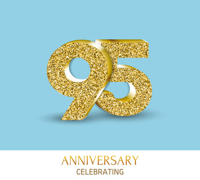 95th anniversary card template with 3d gold colored elements.
