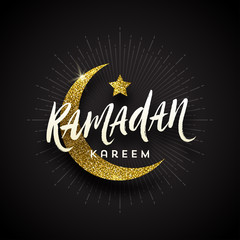 Ramadan Kareem greeting card - Brush calligraphy greeting,  glitter gold moon and star on a black background. Vector illustration.