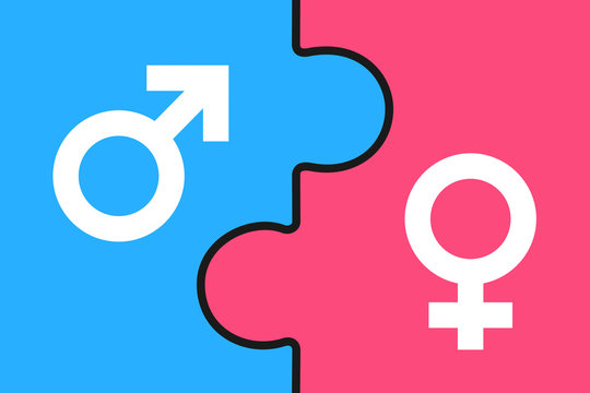 Puzzle - Man and woman / Male and female as complementary sex and gender - equal and  united balance in heterosexual relationship. Vector illustration