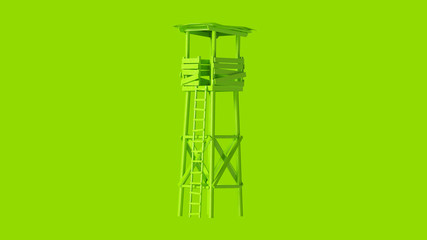 Lime Green Old Rickety Watch Tower with Ladder 3d illustration  Wall mural