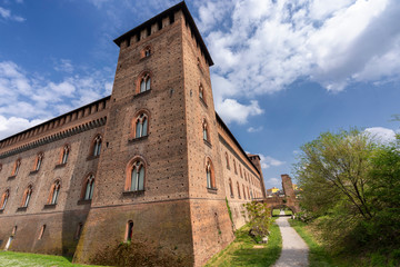Pavia, Italy: the medieval castle at spring