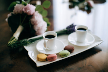 cup of coffee and Macaron