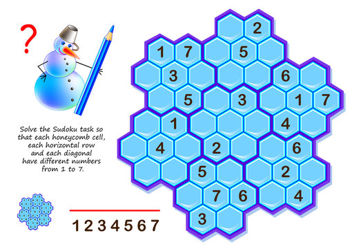 Logic puzzle game for children and adults. Solve Sudoku task so that each honeycomb cell, each horizontal row and each diagonal have different numbers from 1 to 7. Printable page for brainteaser book.