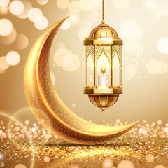 Golden crescent and lantern on ramadan greeting card. Ramazan mubarak or kareem background for arabic holiday. Al-adha and hari raya celebration. Islamic month. Religion poster. Quran theme