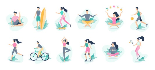 Healthy lifestyle infographic. Sport and fitness, healthy Wall mural